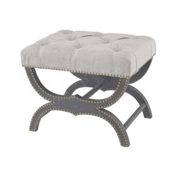 Sterling Arnaz Vanity Bench in Aged Black and Gray Linen