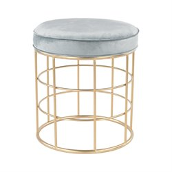 Sterling Beverly Glen Accent Foot Stool in Gold and Duck Egg Blue