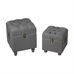 Sterling Restoration 2 Piece Storage Ottoman Set in Gray Linen