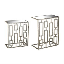 Sterling 2 Piece Nesting Table Set in Aged Silver