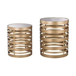Sterling Hotchkiss 2 Piece Accent Table Set in Soft Gold