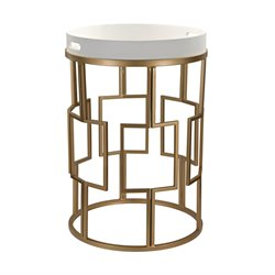 Sterling White and Gold Accent Table in Gloss White and Gold