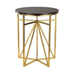 Sterling Accent Table in Gold and Dark Espresso