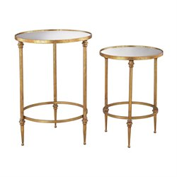 Sterling Alcazar 2 Piece Accent Table Set in Antique Gold