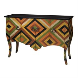 Sterling African Print Accent Chest in Red and Black and Yellow