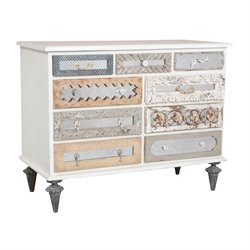 GuildMaster Mirror Mosaic Dresser in White