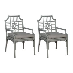 GuildMaster Manor Rattan Dining Chair in Gray (Set of 2)
