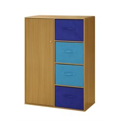 Boy's Storage Armoire in Beige and Blue