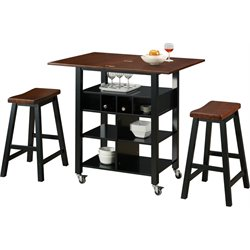 Kitchen Cart in Black with 2 Stools