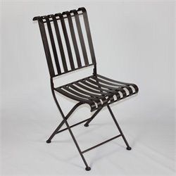 Metal Folding Chair in Brown (Set of 2)