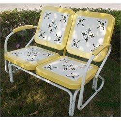 Metal Retro Patio Glider Loveseat in Yellow