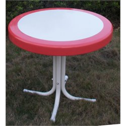 Metal Retro Patio Coffee Table in Coral
