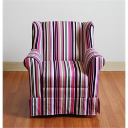 Girl's Multicolored Striped Wingback Chair