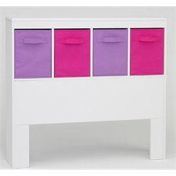 Girl's Storage Bin in White and Pink