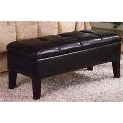 Upholstered Storage Bench in Chocolate