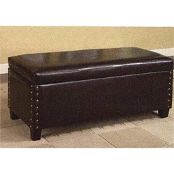Upholstered Storage Ottoman in Chocolate Brown