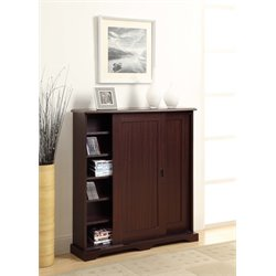Sliding Door Media Storage Cabinet in Brown