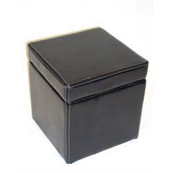Cube Faux Leather Storage Ottoman in Black