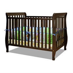 Athena Naomi 4 in 1 Convertible Crib with Changing Table in Espresso