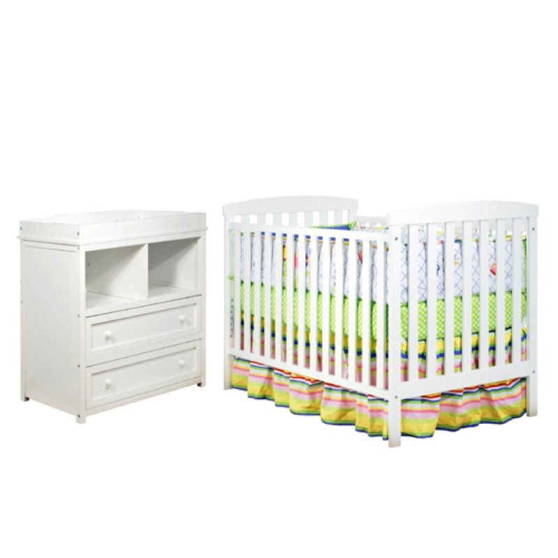 Athena leila 2 piece convertible crib set in white 608w for Rock n roll baby crib set