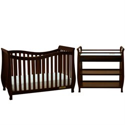Athena Lorie 4 in 1 Convertible Crib with Changing Table in Espresso