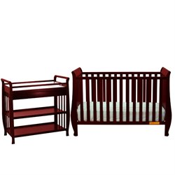 Athena Naomi 4 in 1 Convertible Crib with Changing Table in Cherry