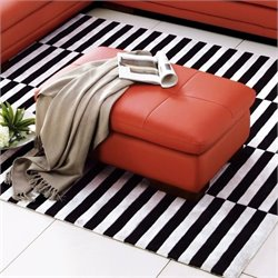 Catania Leather Ottoman in Pumpkin