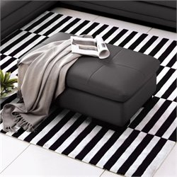 Catania Italian Leather Ottoman in Gray