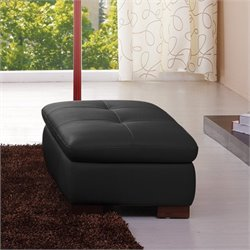 Catania Leather Ottoman in Black