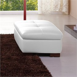 Catania Leather Ottoman in White