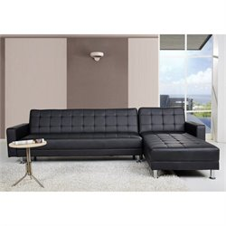 Brika Home Faux Leather Convertible Sectional in Black