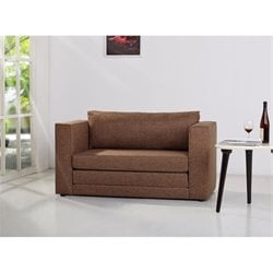 Brika Home Fabric Loveseat in Brown