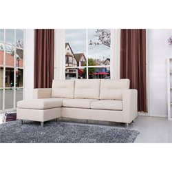 Brika Home Fabric Convertible Sofa with Ottoman in Beige