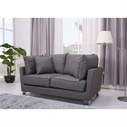 Brika Home Fabric Loveseat in Gray