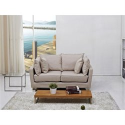 Brika Home Fabric Loveseat in Beige