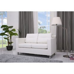 Brika Home Faux Leather Loveseat in White