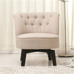 Brika Home Fabric Swivel Chair in Beige