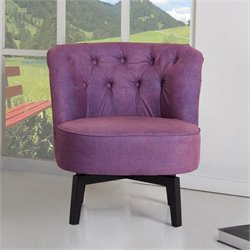Brika Home Fabric Swivel Chair in Purple