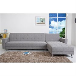 Brika Home Fabric Convertible Sectional in Ash
