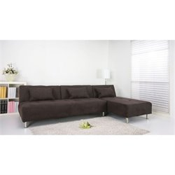 Brika Home Fabric Convertible Sofa in Chocolate