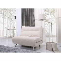 Brika Home Fabric Convertible Sofa in Ivory