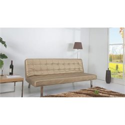 Brika Home Faux Leather Convertible Sofa in Champagne