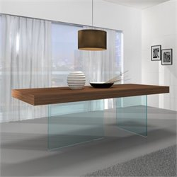 Brika Home Chestnut Wood Glass Leg Dining Table in Walnut