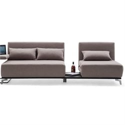 Brika Home JH033 Fabric Sleeper Sofa in Beige