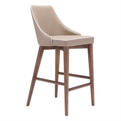 Brika Home Faux Leather Bar Stool in Beige