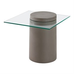 Brika Home Glass End Table in Cement