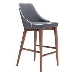 Brika Home Faux Leather Bar Stool in Dark Gray