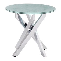Brika Home Glass End Table in Chrome