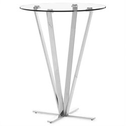 Brika Home Modern Glass Bar Table in Stainless Steel