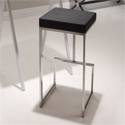 Brika Home Modern Leatherette Bar Chair in Black